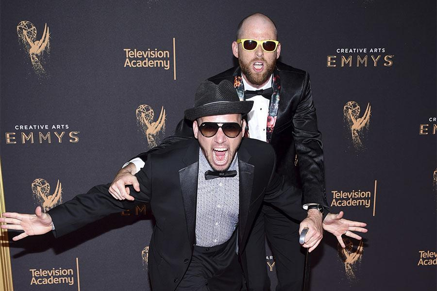 Lloyd Ahlquist and Peter Shukoff on the red carpet at the 2017 Creative Arts Emmys.