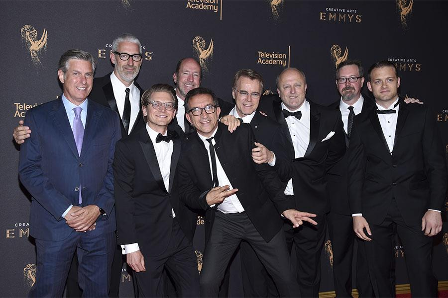The team from The Beatles: Eight Days a Week on the red carpet at the 2017 Creative Arts Emmys.