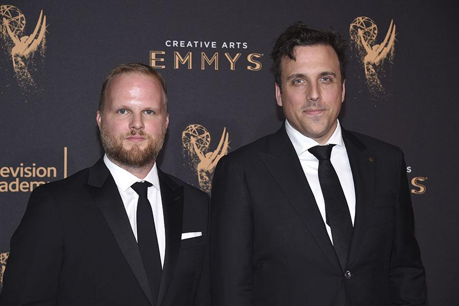 Rod Blackhurst and Brian McGinn on the red carpet at the 2017 Creative Arts Emmys.
