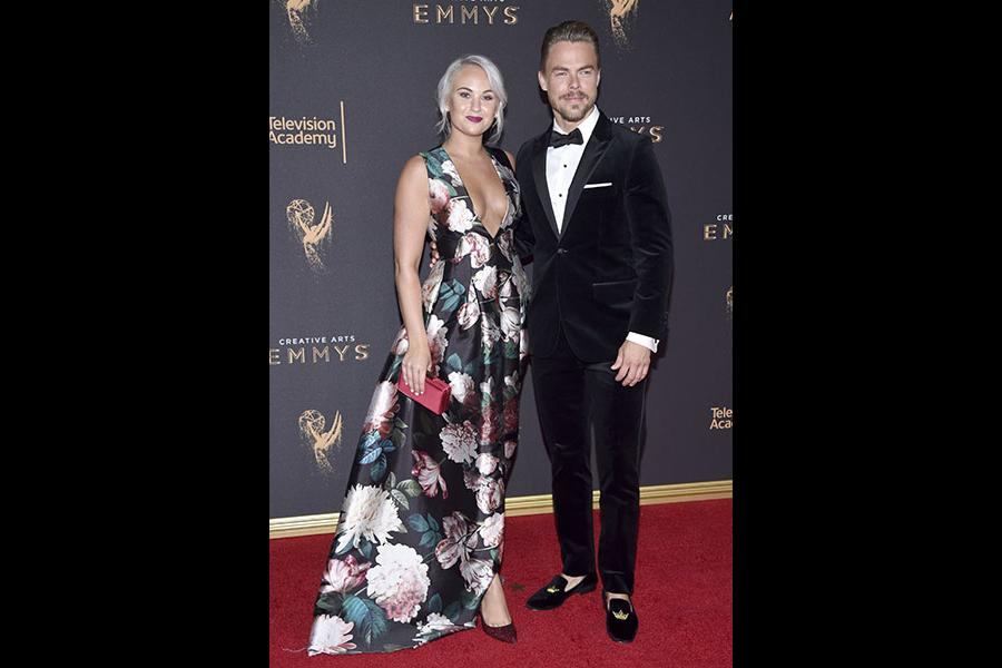 Kelsey McCowan and Derek Hough on the red carpet at the 2017 Creative Arts Emmys.