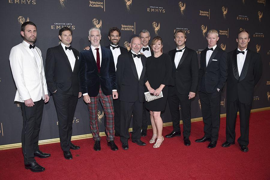 The team of Planet Earth 2 on the red carpet at the 2017 Creative Arts Emmys.