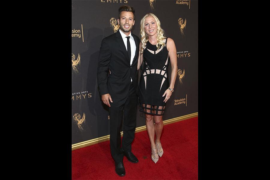 Jason Marello and Tara Long on the red carpet at the 2017 Creative Arts Emmys.