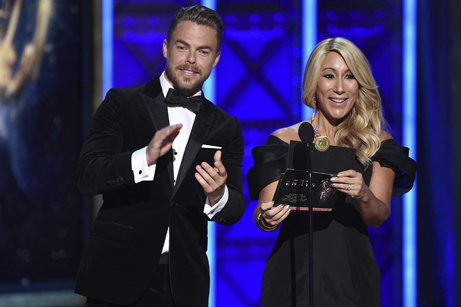 Derek Hough and Lori Greiner present an award at the 2017 Creative Arts Emmys.