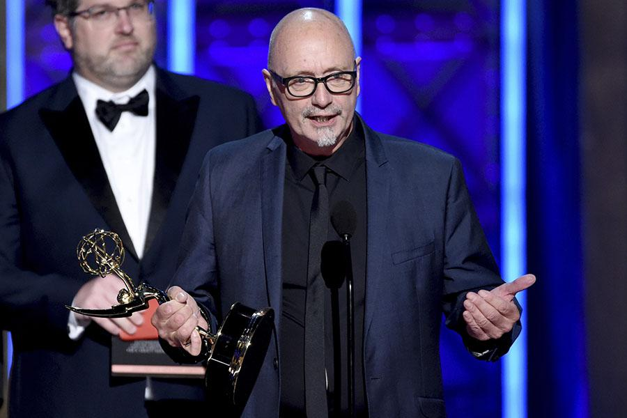 Matthew Cotter and Simon Miles accept their award at the 2017 Creative Arts Emmys.