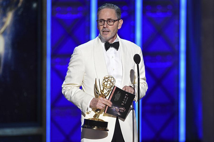 Keith Ian Raywood accepts his award at the 2017 Creative Arts Emmys.