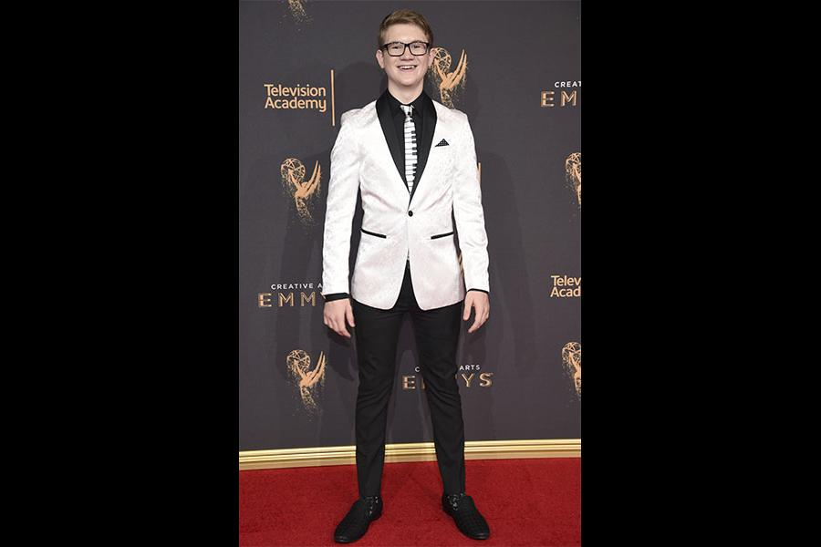 Aidan Miner on the red carpet at the 2017 Creative Arts Emmys.