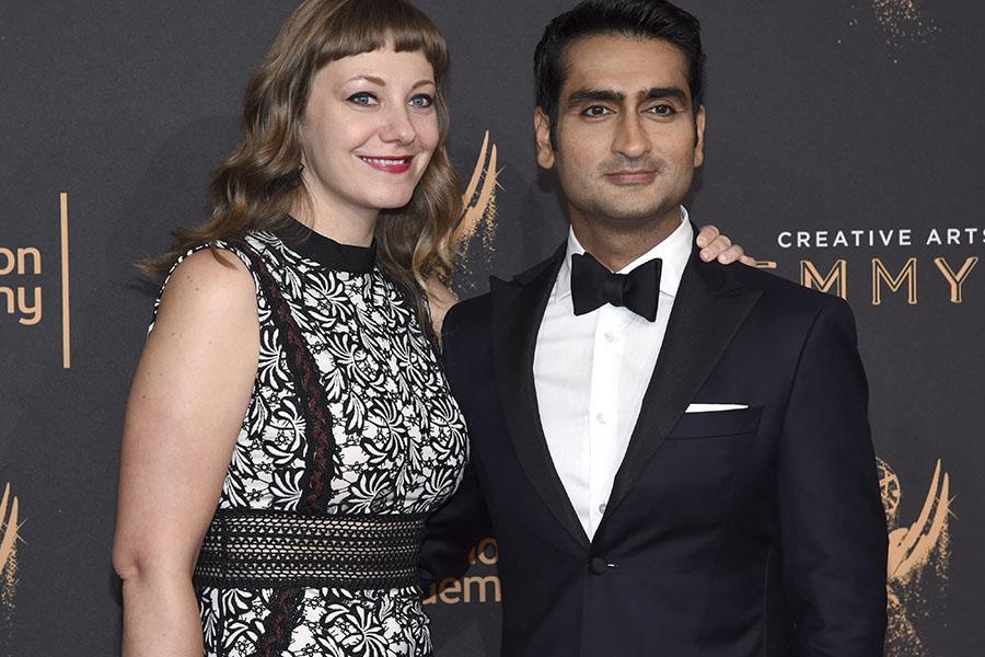 Emily V. Gordon and Kumail Nanjiani on the red carpet at the 2017 Creative Arts Emmys.