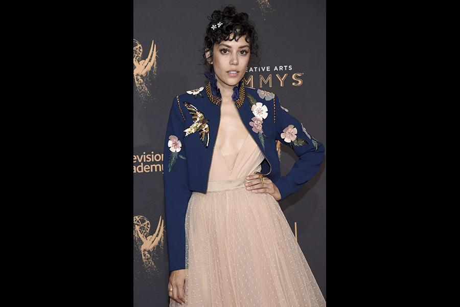 Mishel Prada on the red carpet at the 2017 Creative Arts Emmys.