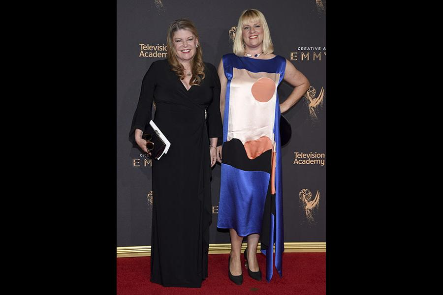 Leslie Herman and Marie Schley on the red carpet at the 2017 Creative Arts Emmys.