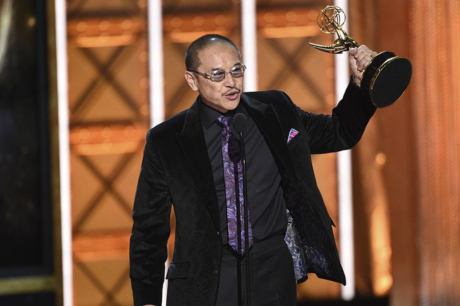 James Lew accepts his award at the 2017 Creative Arts Emmys.