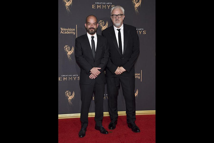 Adriano Goldman and Martin Childs on the red carpet at the 2017 Creative Arts Emmys.
