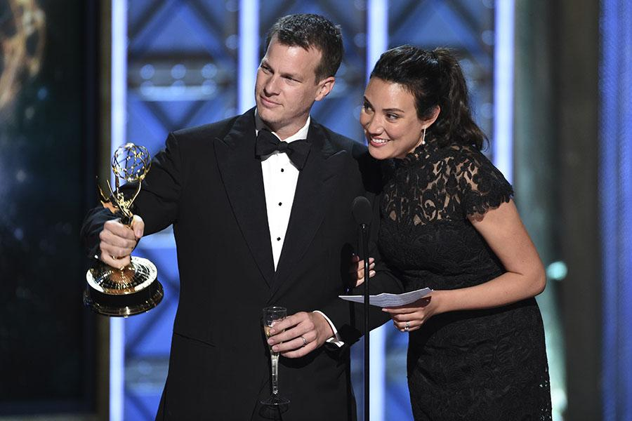 The interactive media team for Westworld accepts their award at the 2017 Creative Arts Emmys.