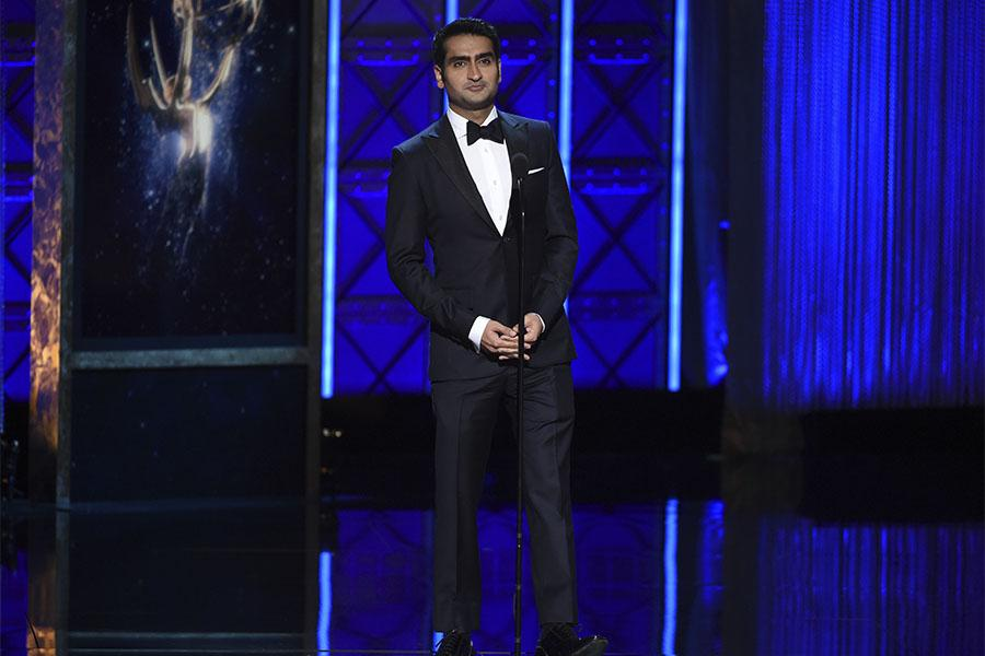 Kumail Nanjiani on stage at the 2017 Creative Arts Emmys.