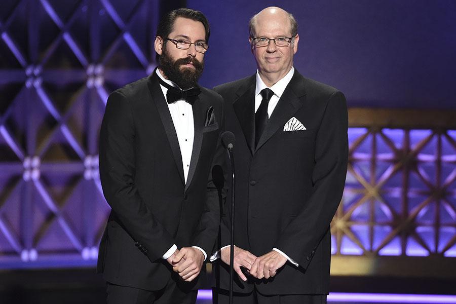 Martin Starr and Stephen Tobolowski present an award at the 2017 Creative Arts Emmys.