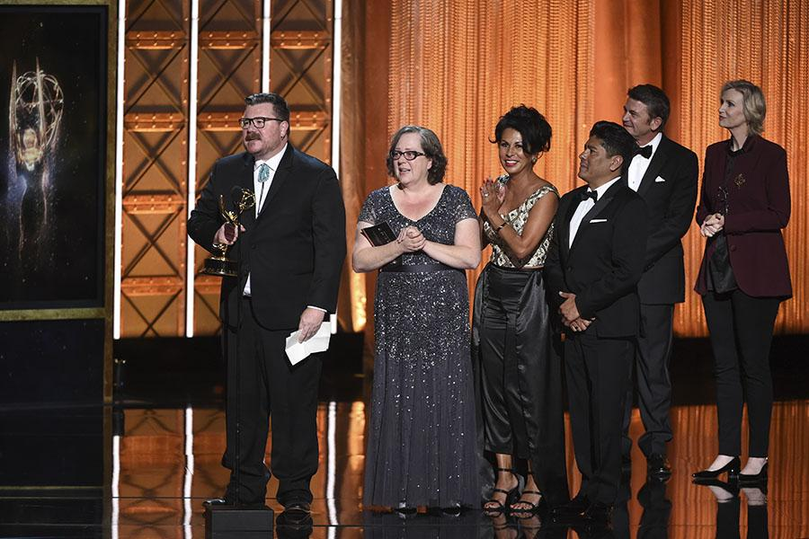 The hairstyling team for Feud: Bette and Joan accepts their award at the 2017 Creative Arts Emmys.