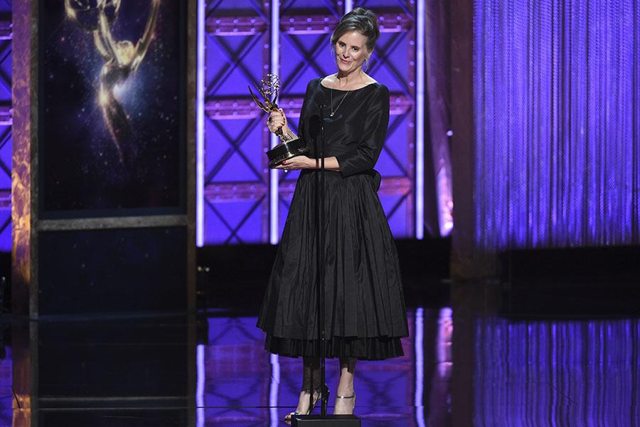 Susan Jacobs accepts her award at the 2017 Creative Arts Emmys.
