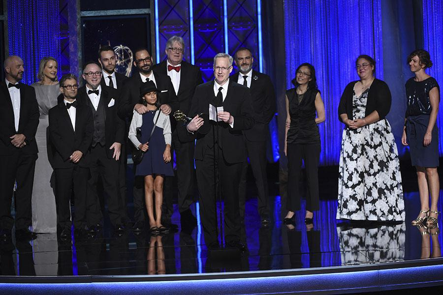 The team of The Night of accepts their award at the 2017 Creative Arts Emmys.