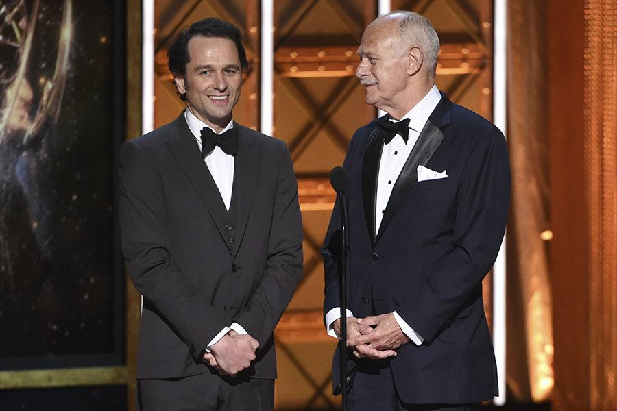 Matthew Rhys and Gerald Mcraney present an award at the 2017 Creative Arts Emmys.