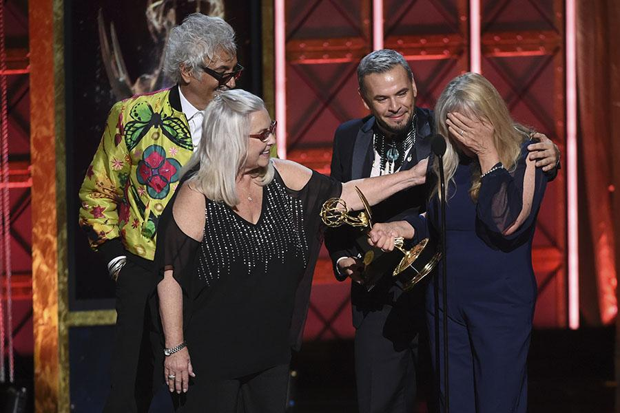 The hairstyling team for Westworld accepts their award at the 2017 Creative Arts Emmys.