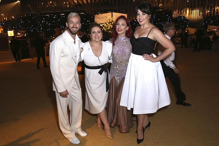 Artem Chigvintsev, Mandy Moore, Sharna Burgess, and Kathryn Burns at the 2017 Creative Arts Ball.