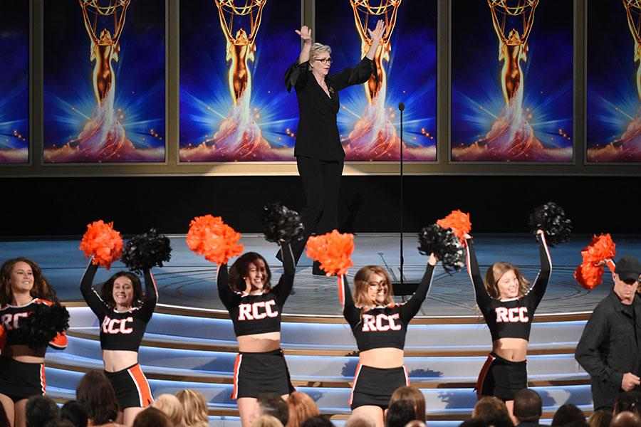 "Jane Lynch, The Riverside Community College ""RCC"" Cheerleaders"