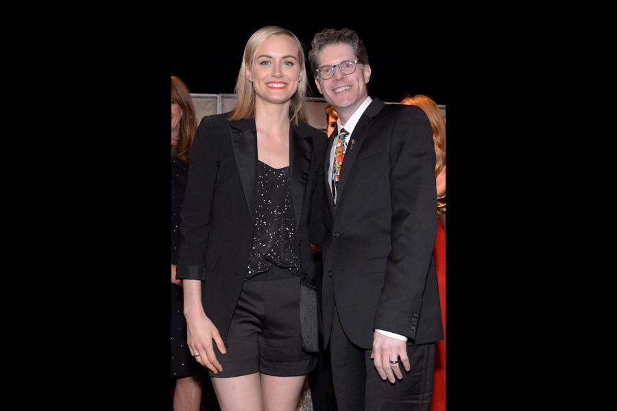 Taylor Schilling (l) of Orange Is the New Black and Bob Bergen (r) attend the Performers nominee reception.