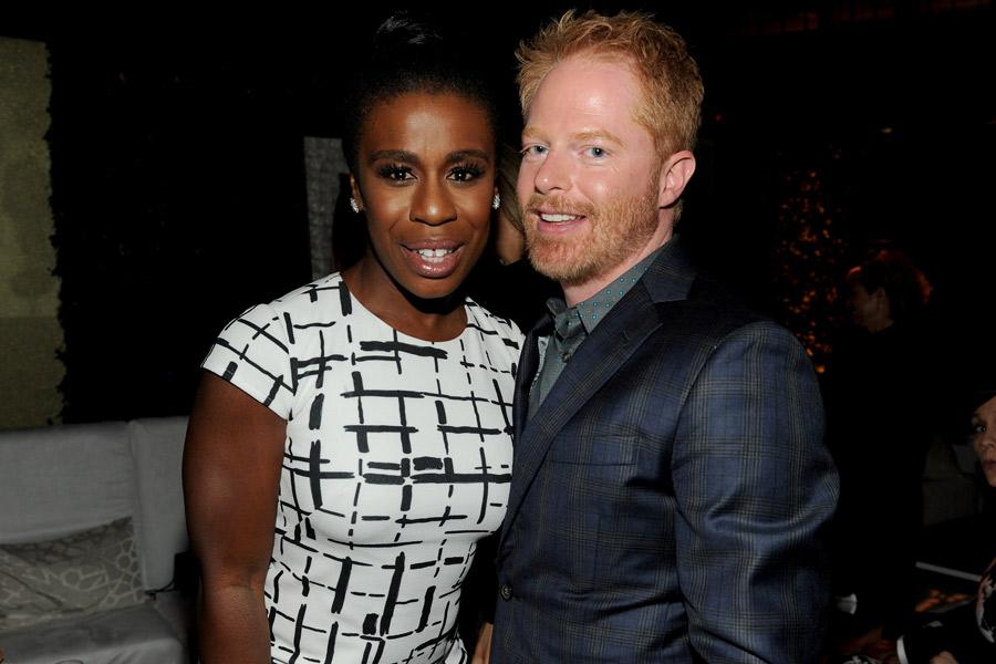 Uzo Aduba (l) of Orange Is the New Black and Jesse Tyler Ferguson (r) of Modern Family attend the Performers nominee reception.