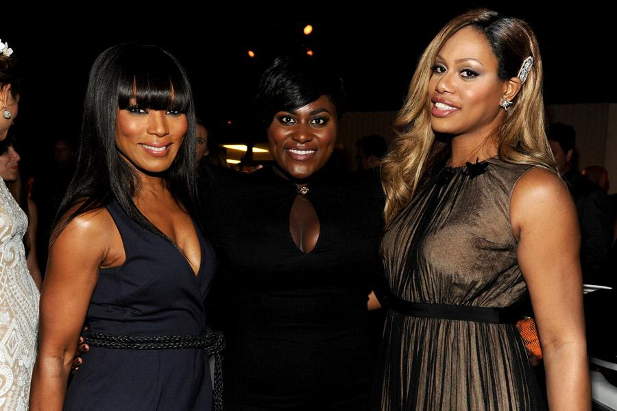 Angela Bassett (l) of American Horror Story: Coven, Danielle Brooks (c) and Laverne Cox of Orange Is the New Black attend the Performers nominee reception.