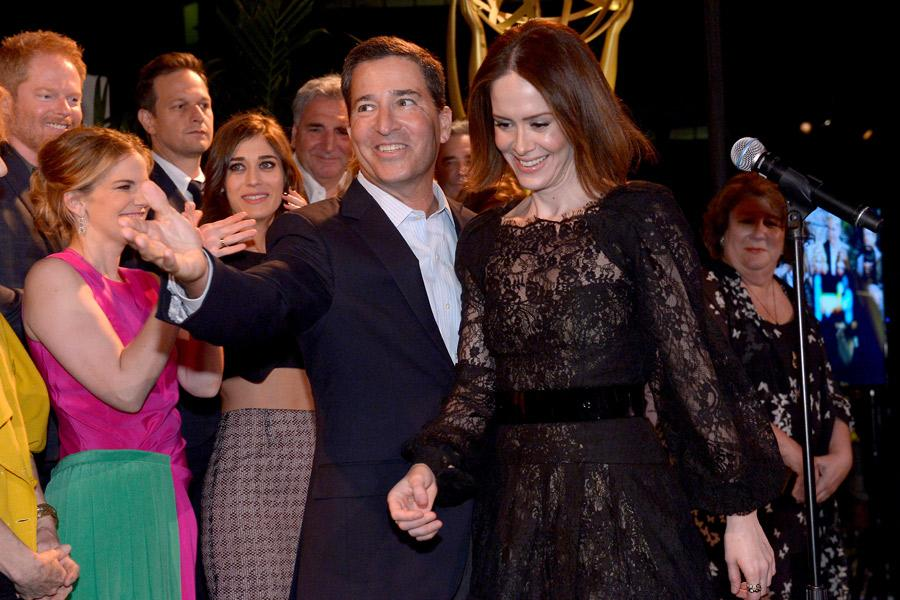 Bruce Rosenblum (l) and Sarah Paulson (r) of American Horror Story: Coven attend the Performers nominee reception.