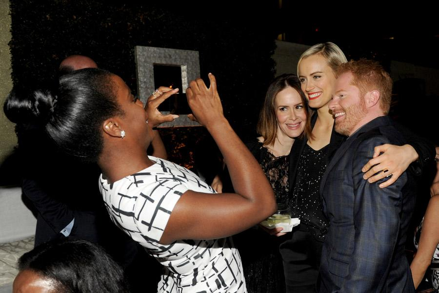 (From left) Uzo Aduba, Sarah Paulson, Taylor Schilling and Jesse Tyler Ferguson attend the Performers nominee reception.