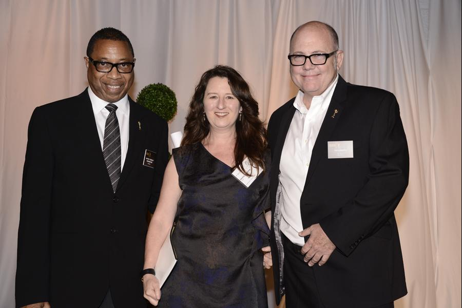 (From left) Screech Washington, Blair Breard and Tim Gibbons attend the Producers nominee reception.