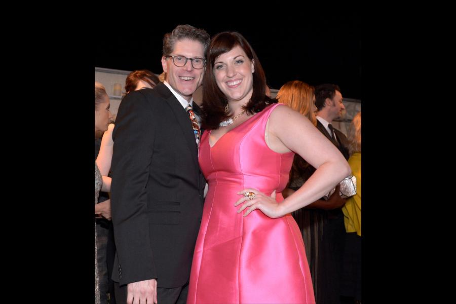 Bob Bergen (l) and Allison Tolman (r) arrive at the 66th Primetime Emmy Awards at the Nokia Theater.