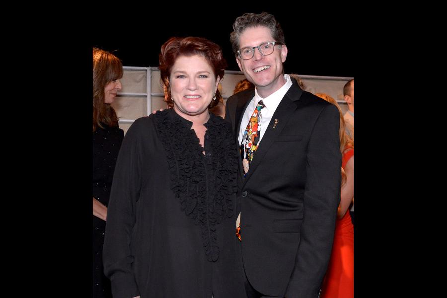 Bob Bergen and Kate Mulgrew arrive at the 66th Primetime Emmy Awards at the Nokia Theater.
