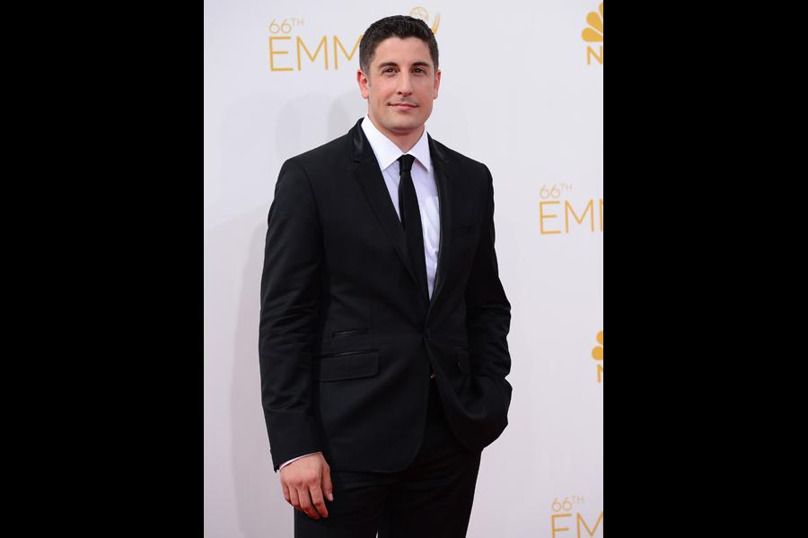 Jason Biggs of Orange Is the New Black arrives at the 66th Emmy Awards.