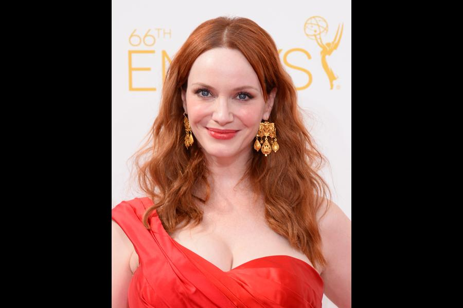 Christina Hendricks of Mad Men arrives at the 66th Emmys.