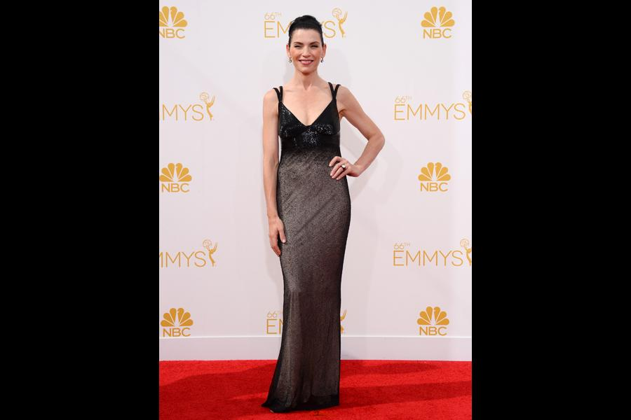Julianna Margulies of The Good Wife arrives at the 66th Emmy Awards.