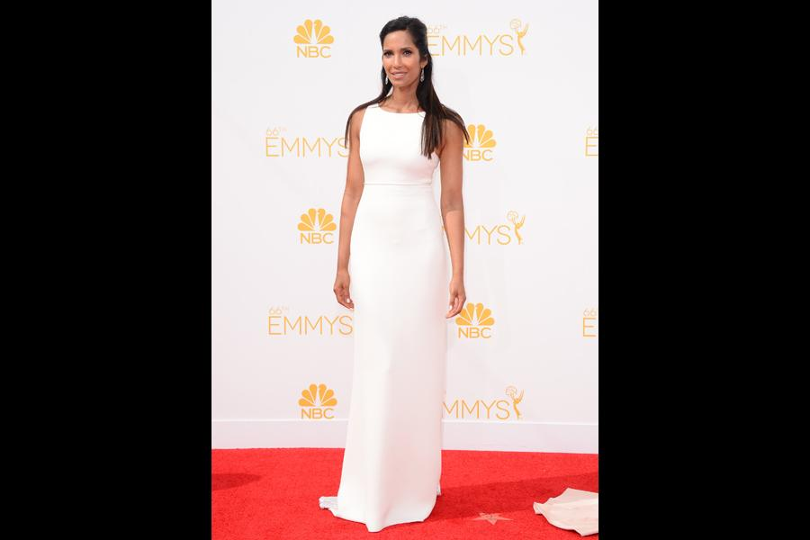 Padma Lakshmi arrives at the 66th Emmy Awards.