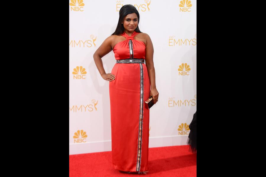 Mindy Kaling of The Mindy Project arrives at the 66th Emmy Awards.