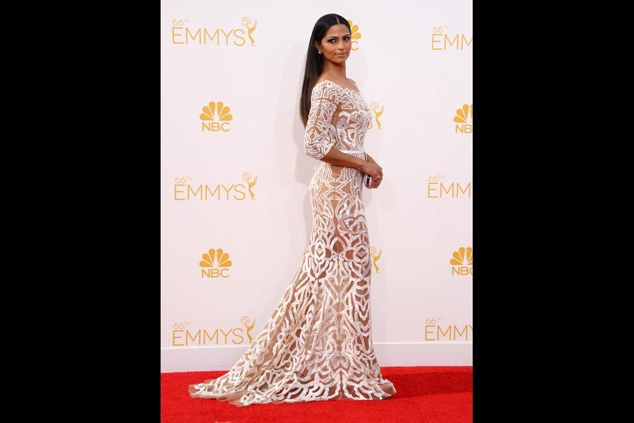 Camila Alves McConaughey arrives at the 66th Emmys.