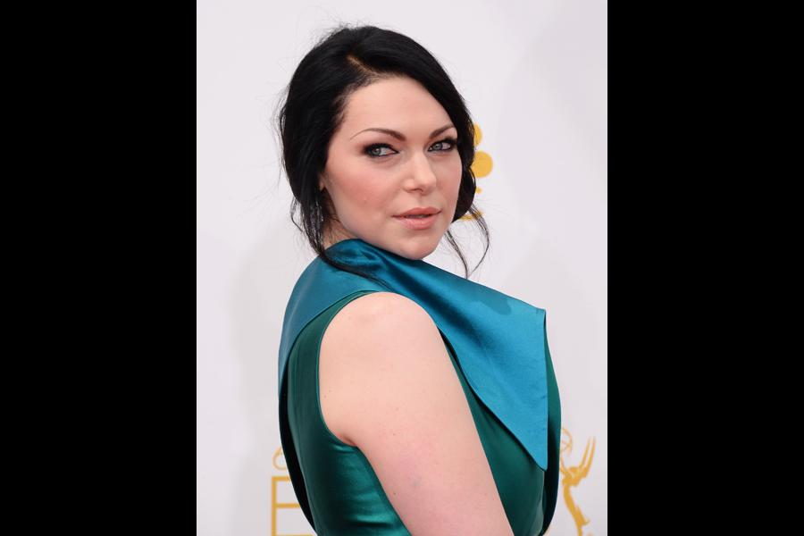 Laura Prepon of Orange is the New Black arrives at the 66th Emmy Awards.