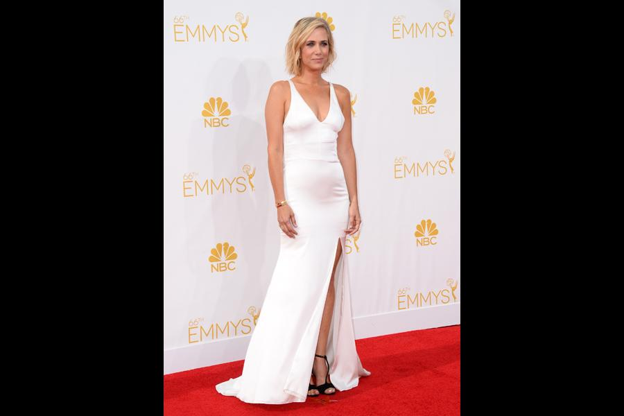 Kristen Wiig of The Spoils of Babylon arrives at the 66th Emmy Awards.