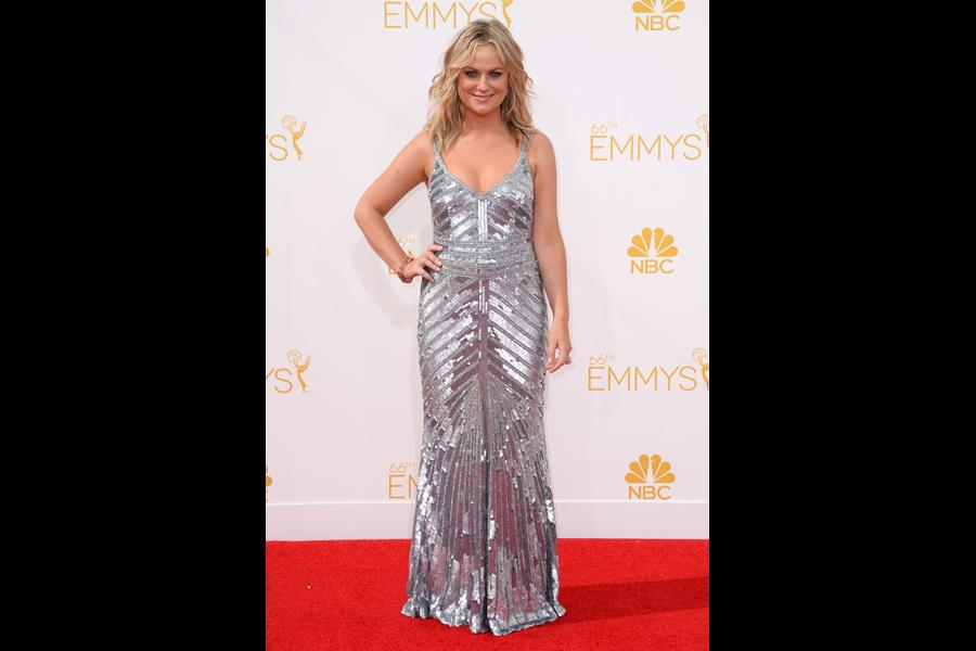 Amy Poehler of Parks and Recreation arrives at the 66th Emmy Awards.