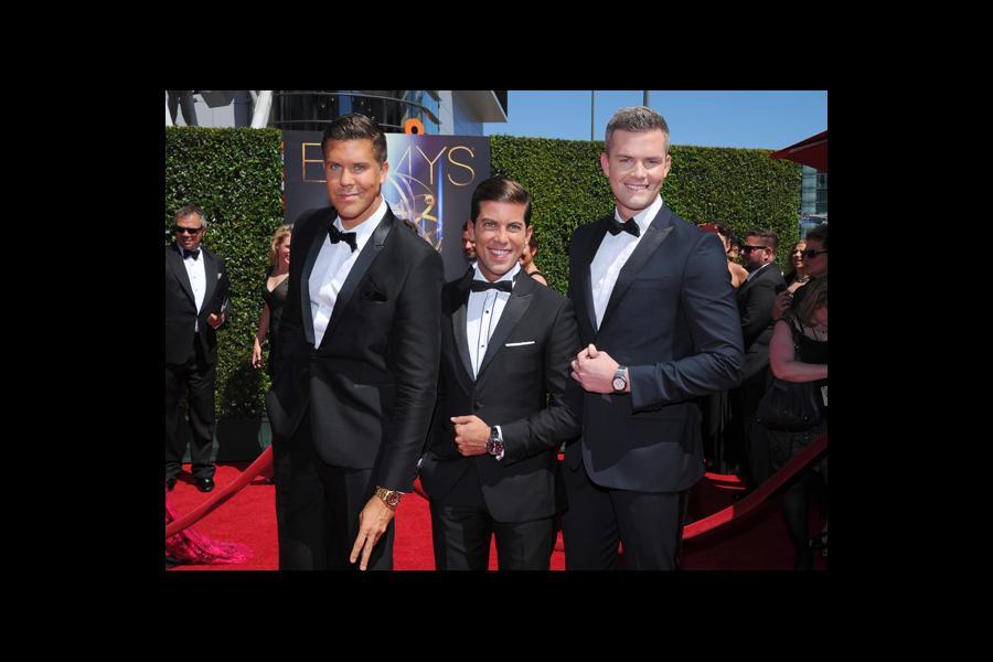 Fredrik Eklund, Luis D. Ortiz and Ryan Serhant of Million Dollar Listing arrive for the 2014 Primetime Creative Arts Emmys.