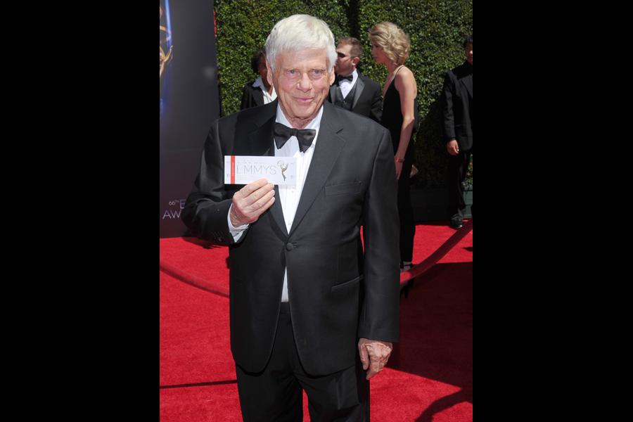 Robert Morse of Mad Men arrives for the 2014 Primetime Creative Arts Emmys.