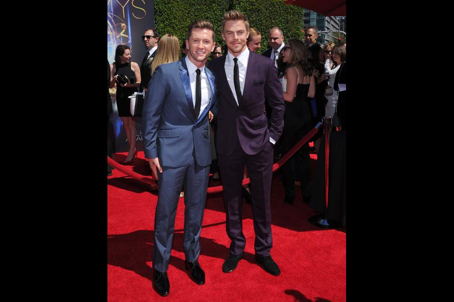 Travis Wall of So You Think You Can Dance and Derek Hough of Dancing with the Stars arrive for the 2014 Primetime Creative Arts Emmys.