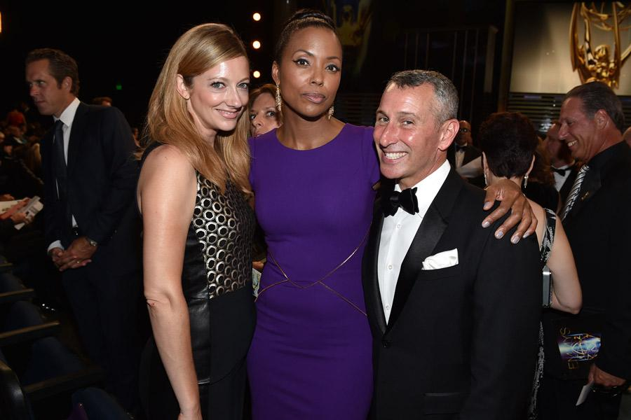 Judy Greer, Aisha Tyler, and Adam Shankman at the 2014 Primetime Creative Arts Emmys.