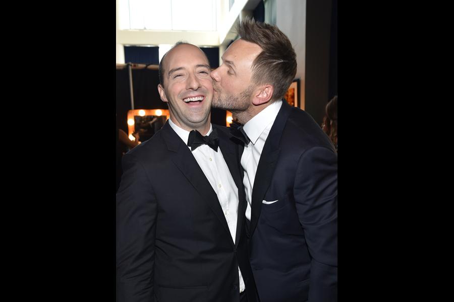 Tony Hale of Veep and Joel McHale of The Soup at the 2014 Primetime Creative Arts Emmys.