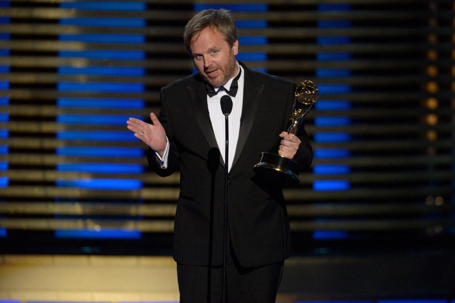 Yan Miles accepts the award for Outstanding Single-Camera Picture Editing for a Miniseries or a Movie for Sherlock: His Last Vow the 2014 Primetime Creative Arts Emmys.