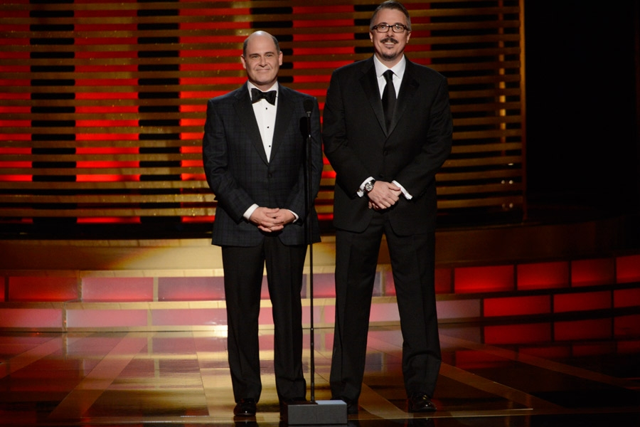 Matt Weiner and Vince Gilligan present an award at the 2014 Primetime Creative Arts Emmys.