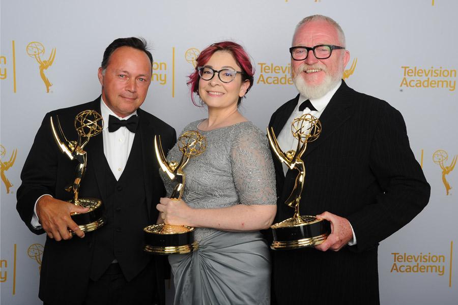 Boardwalk Empire art direction team Adam Scher (l), Carol Silverman (c) and Bill Groom (r) celebrate their win at the 2014 Primetime Creative Arts Emmys.
